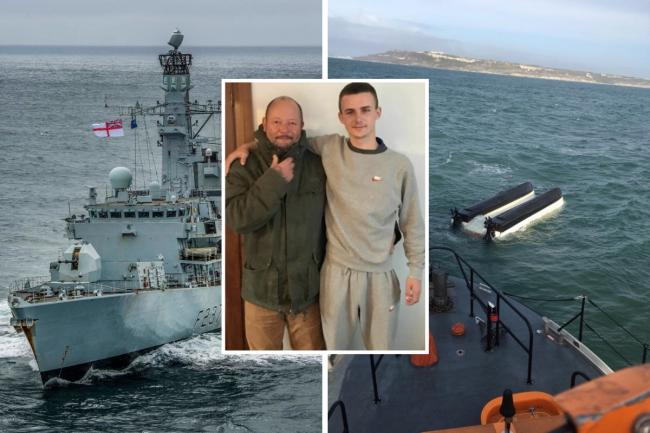 Teenager Jordan Coulter has paid tribute to the skipper who 'saved his life' after their fishing boat capsized in Weymouth Bay. Inset: David Miller (left) with Jordan Coulter (right).