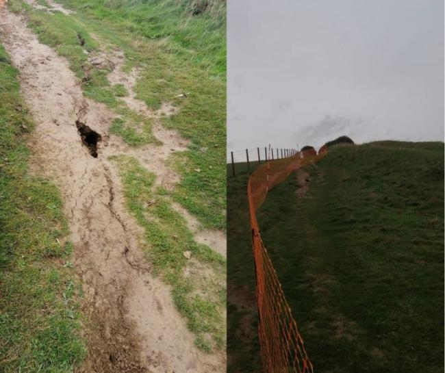 A large crack has appeared along the cliff top   Picture: Dorset Council