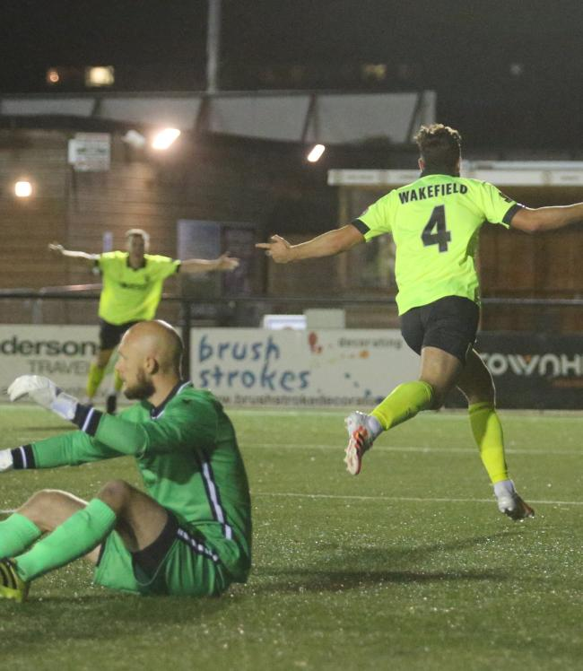 Josh Wakefield, right, put Weymouth ahead at Bromley 	            Picture: MARK PROBIN