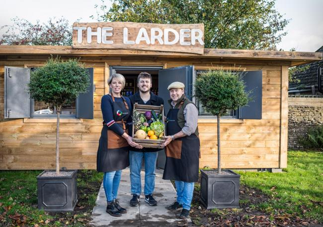Becky Gibbons, son Kai Gibbons and John Gibbons outside The Larder. Picture: Josie Sturgess-Mills