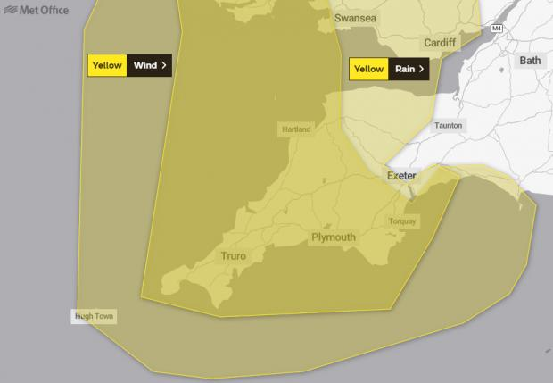 Dorset Echo: The wind warning is in place between 6am and 9pm on Saturday (October 30). Picture: Met Office