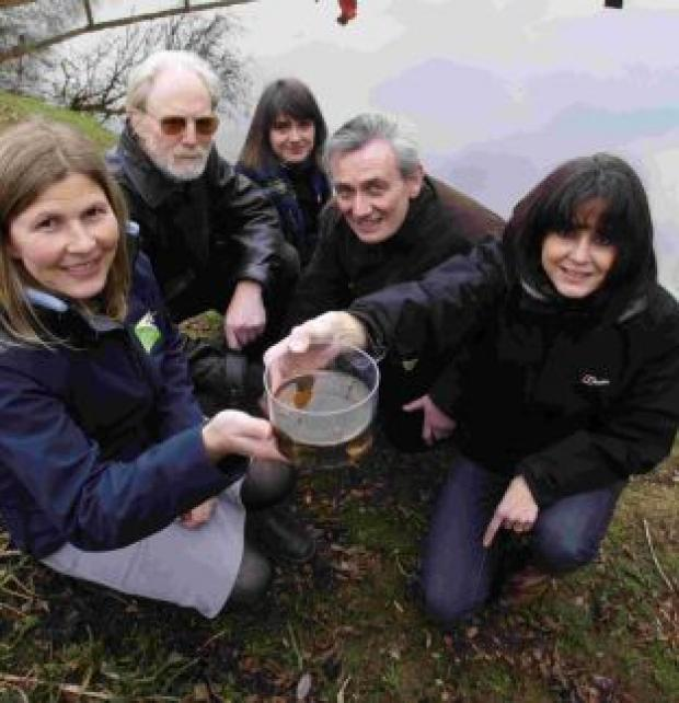 Dorset Echo: Dr Rachel Janes of the Dorset Wildlife Trust, Prof Patrick Armitage of the Freshwater Biological Association and Dr Julia Reiss, Prof Bland Finlay and Dr Genoveva Esteban of the Queen Mary University