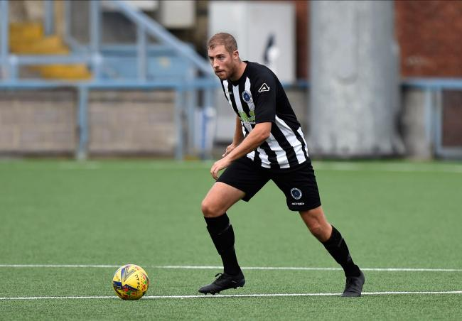 Sam Poole (5) of Dorchester Town during the Dorchester Town v Weston-Super-Mare match.  19th September 2020. Picture Credit: Graham Hunt Photography
