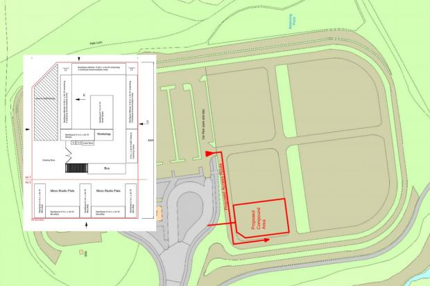 Dorset Echo: The units will be placed in the overflow car park at the park and ride. Inset picture shows the layout of the proposed accommodation. Picture: Bus Shelter Dorset