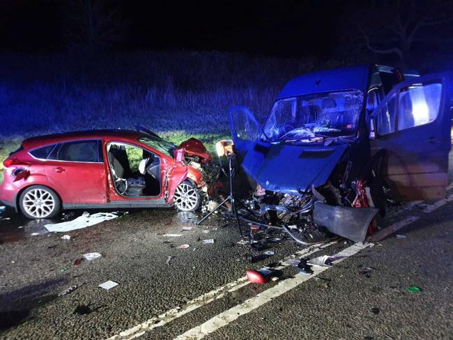 The scene of the A37 crash on March 3, 2020. Picture: Maiden Newton Fire Station