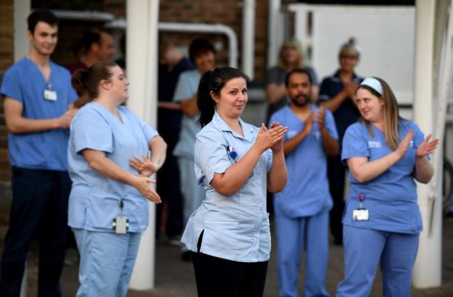 Nurses clap for carers at Dorset County Hospital