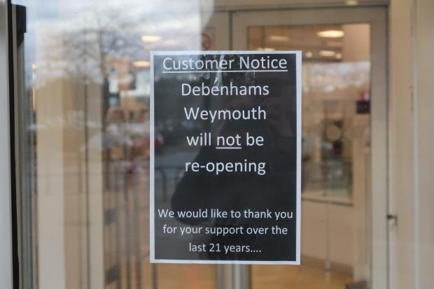 Dorset Echo: Debenhams in Weymouth town centre will not reopening. Picture: Dorset Echo/Michael Taylor