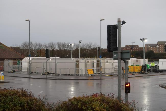 Photos show the new coronavirus testing site at Swannery Car Park, Weymouth. Picture: Dorset Echo