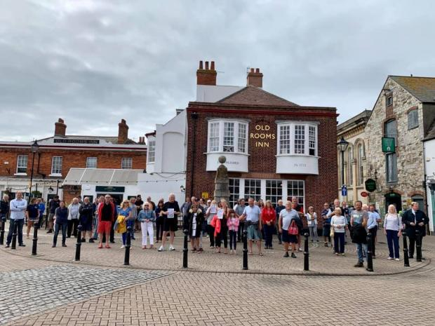 Dorset Echo: Harbour residents turned out to protest against pedestrianisation plans during summer
