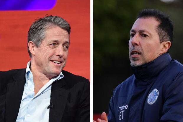 Hugh Grant, left, is rumoured to have helped Fulham's transfer of now Dorchester boss Robbie Herrera Picture left: PA MEDIA on behalf of SO TV/PA WIRE; Picture right: PHIL STANDFIELD