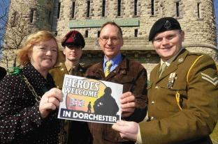 Dorchester Mayor Susie Hosford launches the Heroes Welcome scheme with Phil Gordon and Cpl Stephen Sullivan and Cpl Peter Aubrook