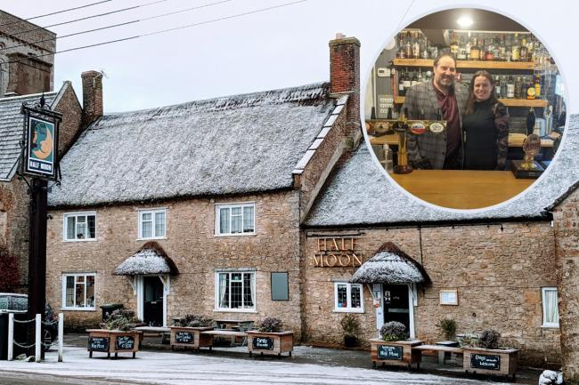 Half Moon, Melplash and inset, landlords Jamie and Clare Pimbley  (pictures supplied by pub)