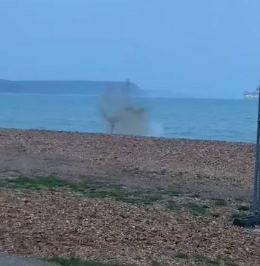 Old flares blown up on Weymouth Beach Picture: Wyke Coastguard