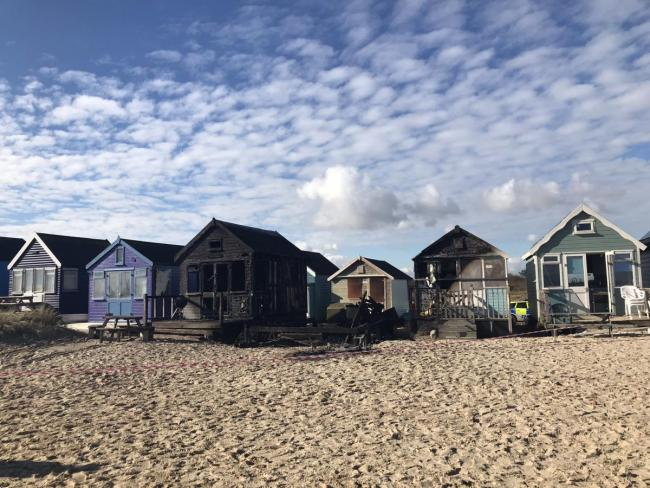 Beach huts at Mudeford Sandbank, Christchurch, which were completely destroyed in an arson attack