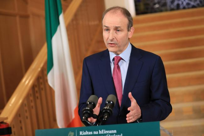 Taoiseach Micheal Martin at Government Buildings in Dublin, where he addressed the nation and held a press conference afterwards