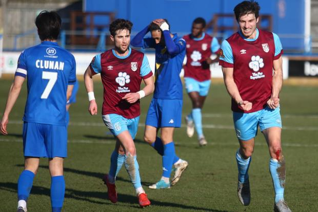 Andy Robinson, right, scored a stunning goal to put Weymouth 2-1 ahead Picture: MARK PROBIN