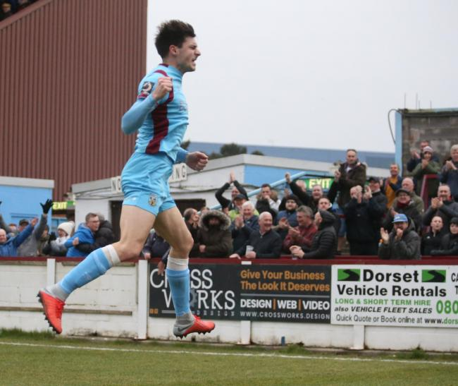 Andy Robinson scored an 89th-minute volley as Weymouth sunk Slough Picture: MARK PROBIN