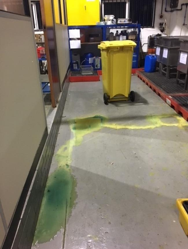 An image of the chemical spill at the factory in Wimborne. Picture: Health and Safety Executive