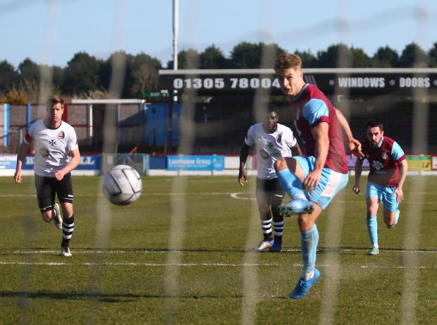 Dorset Echo: Andy Dallas scored his seventh goal of the season to hand Weymouth all three points Picture: MARK PROBIN