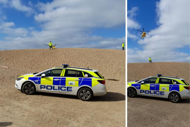 An air ambulance landed on West Bay beach near East Cliff following an incident on Saturday, April 3. Picture: Stephen Beardshall