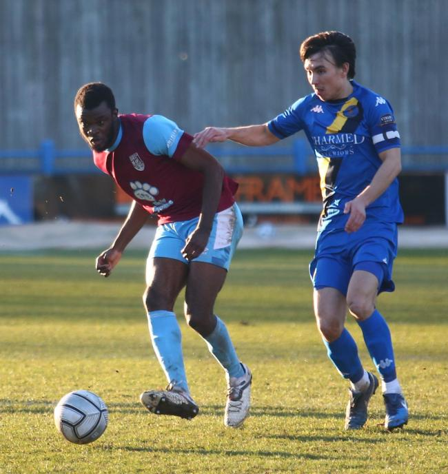 Aston Villa loanee Dom Revan, left, has sustained a broken jaw and subsequently left Weymouth Picture: MARK PROBIN