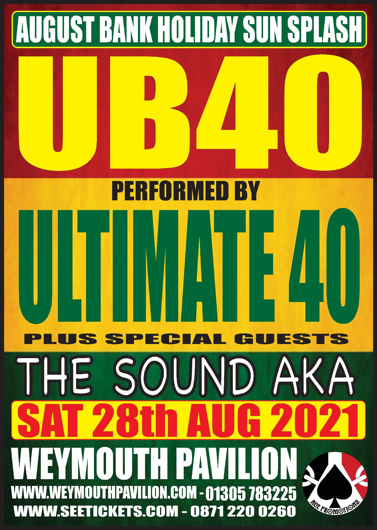 UB40 tribute Ultimate 40 plus special guests The Sound AKA @ Weymouth Pavilion ( Ocean Room )