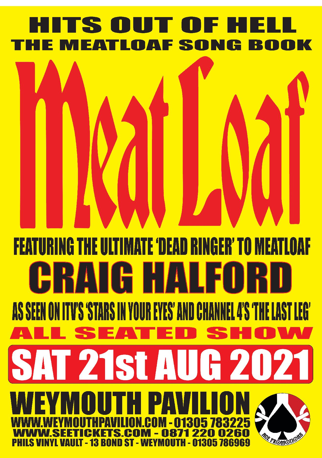 Hits out of Hell - The Meatloaf songbook @ Weymouth Pavilion (  Fully seated Theatre Show )