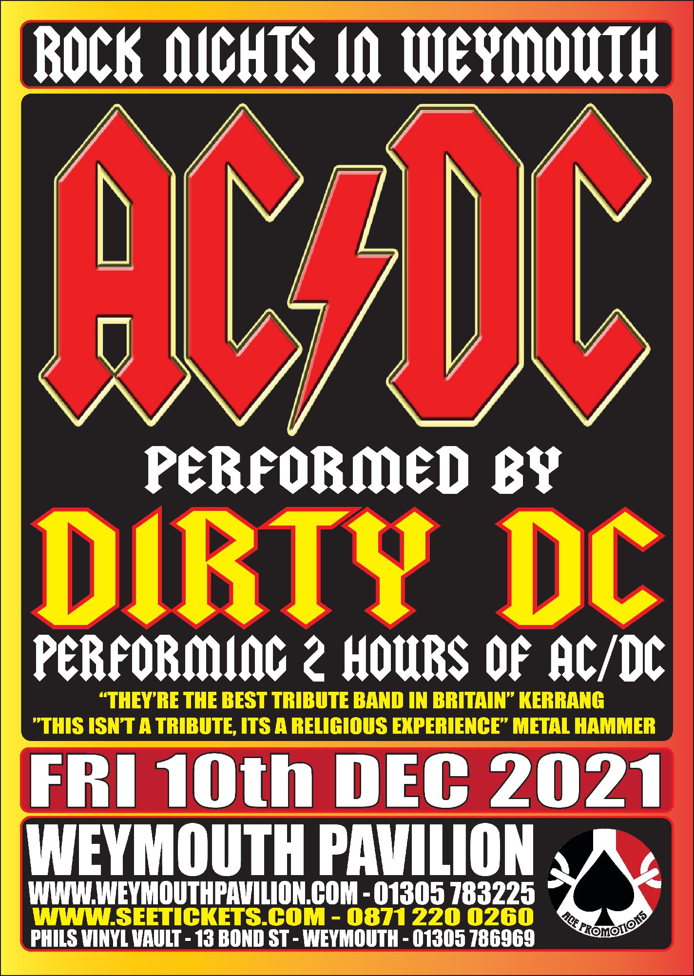 Dirty DC the UK`s premier AC/DC tribute  @ Weymouth Pavilion (  Ocean Room )