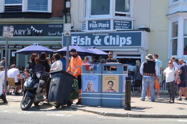 Dorset Echo: Queues outside The Fish Place