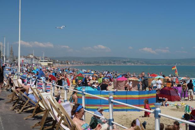 Dorset Echo: A bustling beach in Weymouth on Bank Holiday Mondays.  Image: Dorset Echo