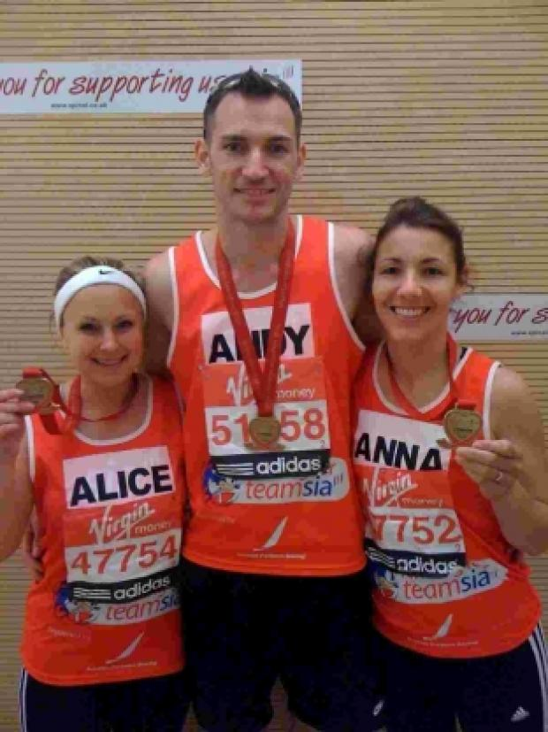 London Marathon: Anne-Marie Kirby, Alice Green and Andrew Roper