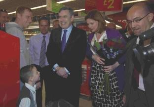 Gordon and Sarah Brown meet shoppers at Asda