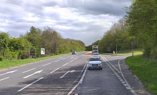 Dorset Echo: The collision site on the A35 near the entrance to the Bridport and Eype picnic area.  Image: Google
