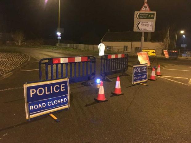 Dorset Echo: Road closure on Crown Roundabout.  Photo: Bridport News