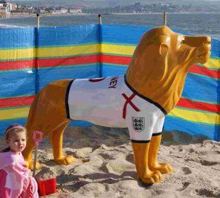 Artist Susan Hughes's World Cup lion pictured on the beach