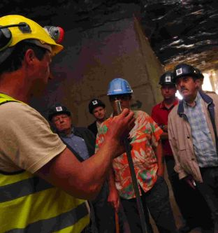 Manager Mark Godden takes members of the public around the mine