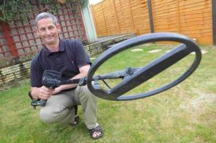 Carl Walmsley with his metal detector