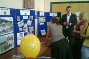 Ray Parker of Monster Play talks to Chickerell residents at the Town Council stand.