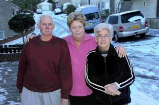Brian Allebone, left, Laura Amor and Marlene Allebone are unhappy with the gritting in Weare Close, Portland