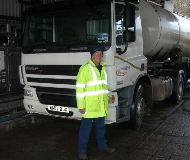 Pete Jackson beside his Milklink tanker