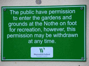 New sign at Nothe Gardens