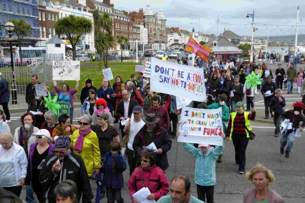 Protestors march through Weymouth