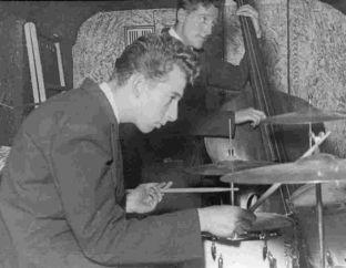 Veteran drummer Dougie Cooper performing with the Tommy Sampson Orchestra in 1947