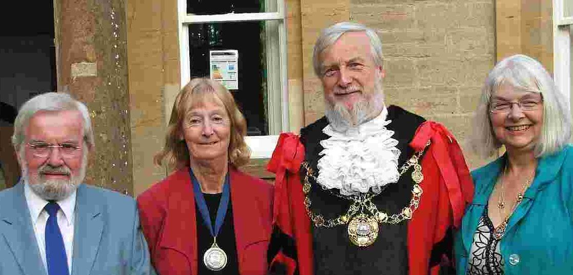 Bridport's mayor and mayoress David and Anne Rickard, right, with council leader Martin Ray and deputy mayor Maggie Ray