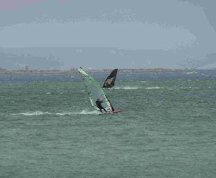 Lea Spencer out windsurfing at  Portland Harbour