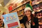 Mandy Chaffers at Boots with the Dorset Echo's Christmas bin