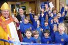 I DECLARE THEM OPEN: Bishop of Sherborne Dr Graham Kings opens the new offices at Buckland Newton Primary School