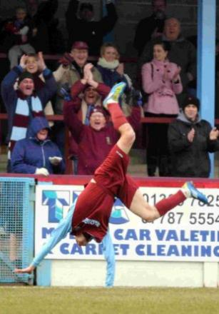 JUMPING FOR JOY: Mark Ford celebrates his first goal