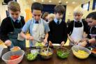 Pupils learn about healthy food and how to make pasta during the From Farm to Fork visit