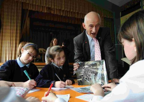 PAST AND PRESENT: Paul Atterbury from the Antiques Roadshow with school pupils